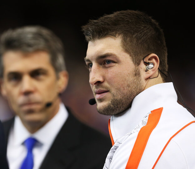Tim Tebow, right, during a TV interview before last January's Allstate Sugar Bowl. He's taking his talents to ESPN.