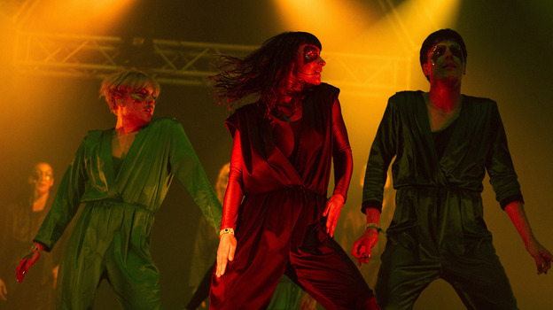 Karin Dreijer Andersson and Olof Dreijer from Swedish electronic music duo The Knife perform live on stage at Lowlands festival in Biddinghuizen, Netherlands in August. (Getty Images)