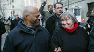 Attorney Lynn Stewart smiles at her husband Ralph Poynter, as they leave Federal Court in Manhattan in 2005 after she was convicted on all five charges regarding aiding terrorism, assisting terrorism and making false statements.