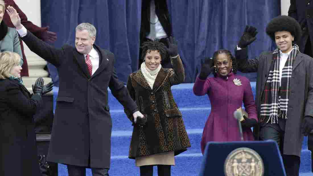 New York City Mayor Bill de Blasio (from left) arrives with his family Chiara de Blasio, Chirlane McCray and Dante de Blasio to