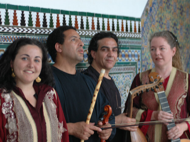 Flutist Boujemaa Razgui and his colleagues from the ensemble Al Andalus.