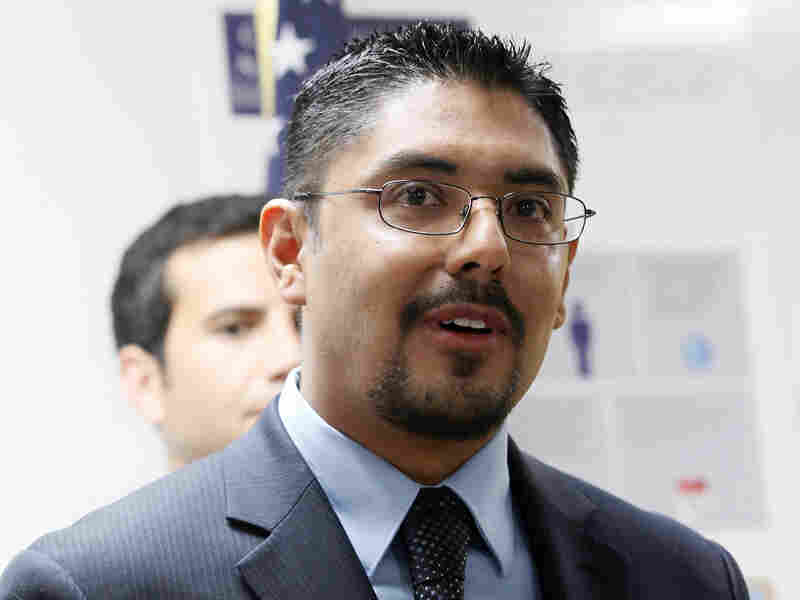 Sergio Garcia speaks at The Coalition for Humane Immigrant Rights of Los Angeles news conference in LA in August.