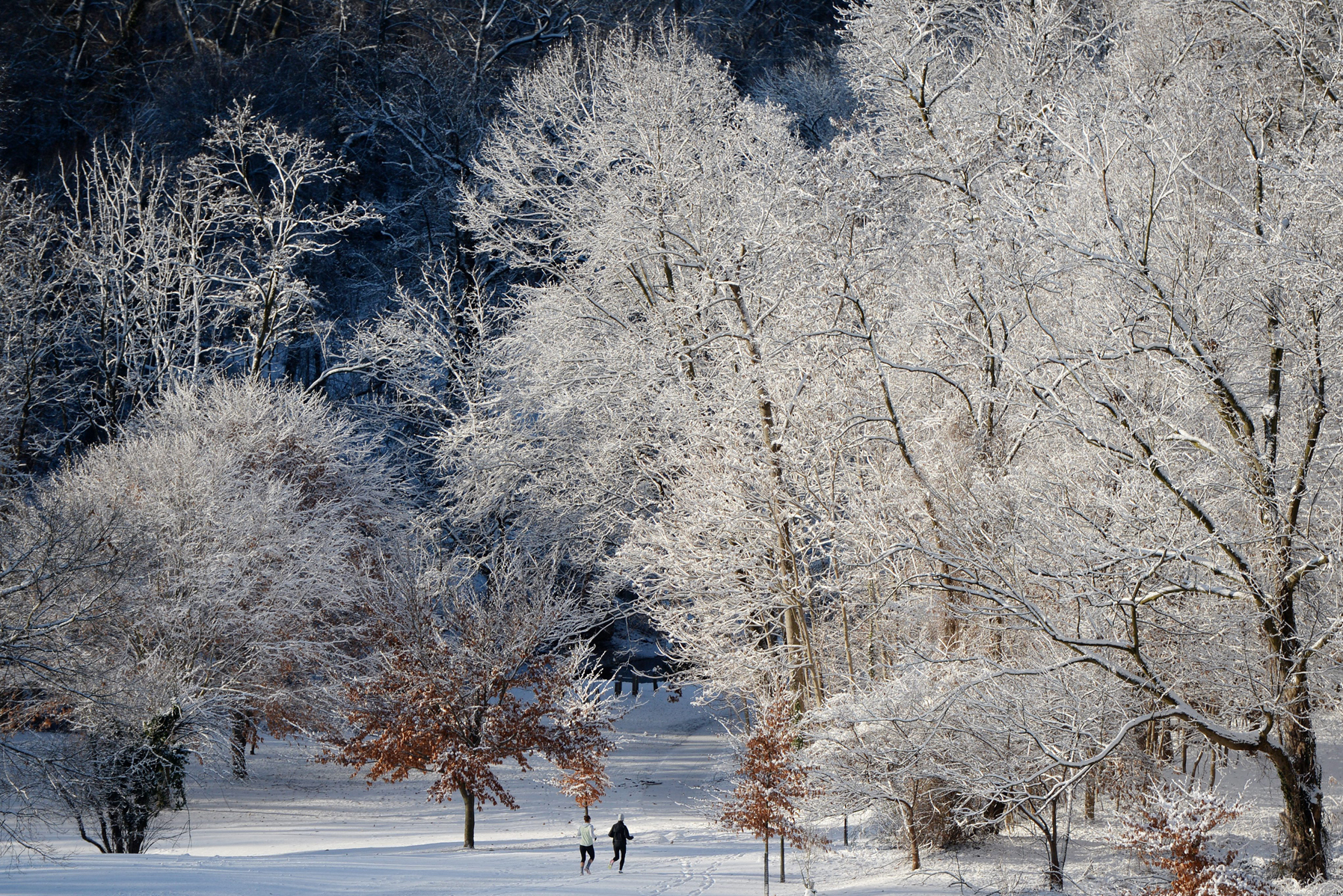 Joggers run through snow-covered Rock Creek Park in Washington, D.C.