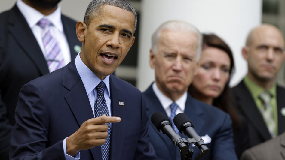 President Obama speaks in April after the Senate rejected a bill that would expand background checks on guns. The White House is seeking to clarify rules that bar firearm possession due to mental health problems. (Manuel Balce Ceneta/AP)