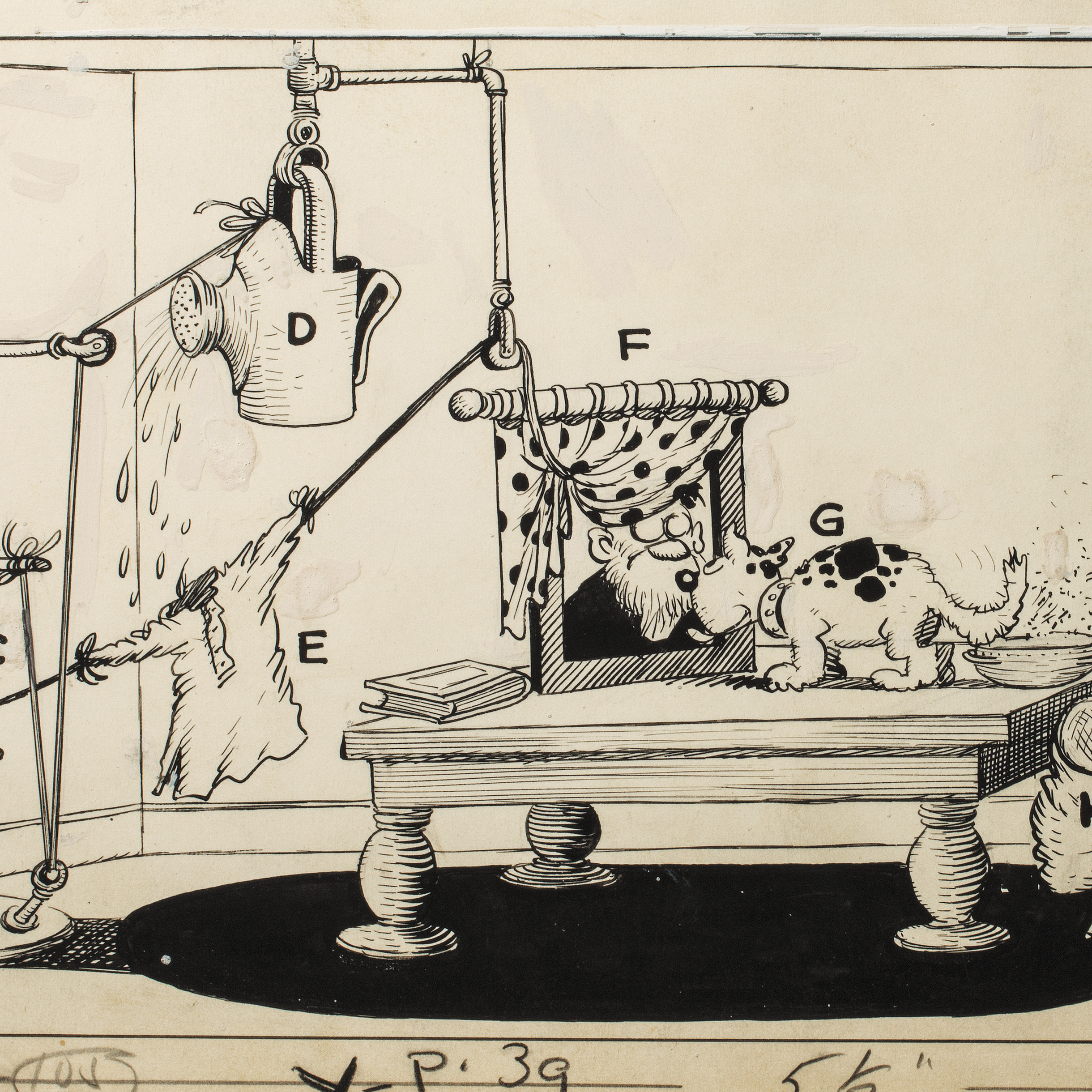 "Rube Goldberg drew many of his devices for his series, ""The Inventions of Professor Lucifer G. Butts, A.K,"" published in Colliers magazine between 1929 and 1931."
