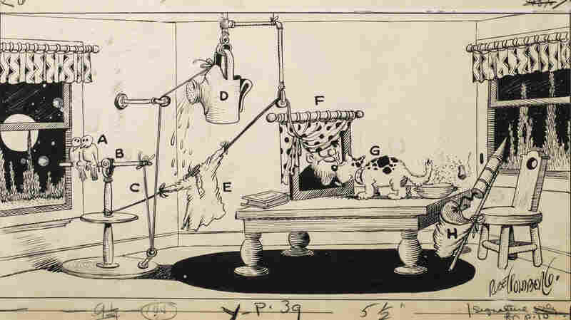 """Rube Goldberg drew many of his devices, like this one for a machine that disposes of cigarette ashes, for his series, """"The Inventions of Professor Lucifer G. Butts, A.K,"""" published in Colliers magazine between 1929 and 1931."""