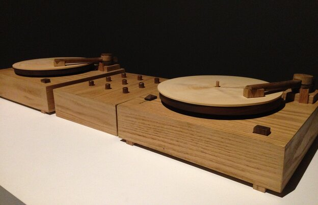 Two turntables carved from wood scratch out the sound of Beat Nation artist Jordan Bennett learning his native Mi'kmaq language.