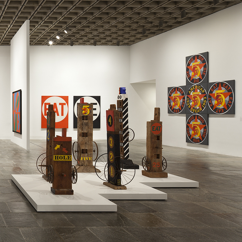 "The Whitney describes its retrospective as revealing ""an artist whose work, far from being unabashedly optimistic and affirmative, addresses the most fundamental issues facing humanity -- love, death, sin and forgiveness."" [Left to right: Exploding Numbers (1964-66); Hole (1960); Five (1984).]"