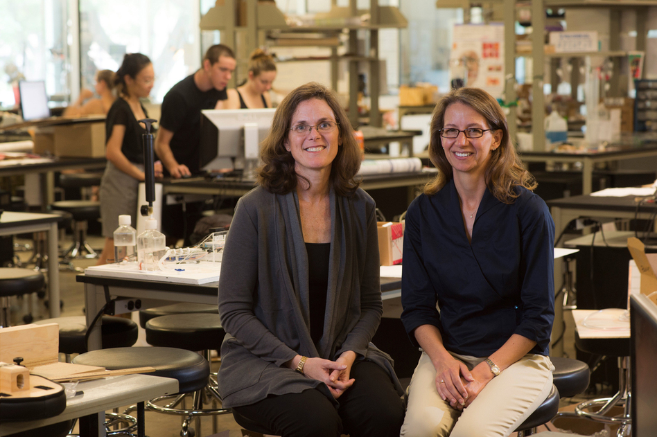 Professors Maria Oden (left) and Rebecca Richards-Kortum at Rice University's Oshman Engineering Design Kitchen in Houston. (Rice University)