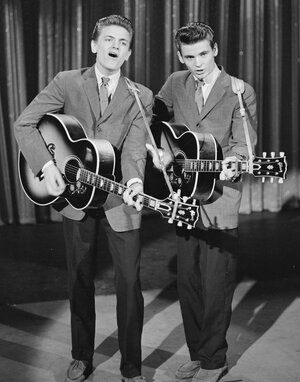 The Everly Brothers (Phil on the left, Don on the right) singing on The Ed Sullivan Show in 1957.