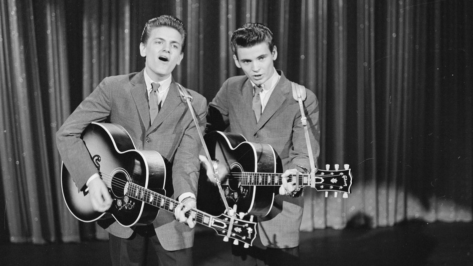 The Everly Brothers (Phil on the left, Don on the right) singing on <em>The Ed Sullivan Show</em> in 1957.