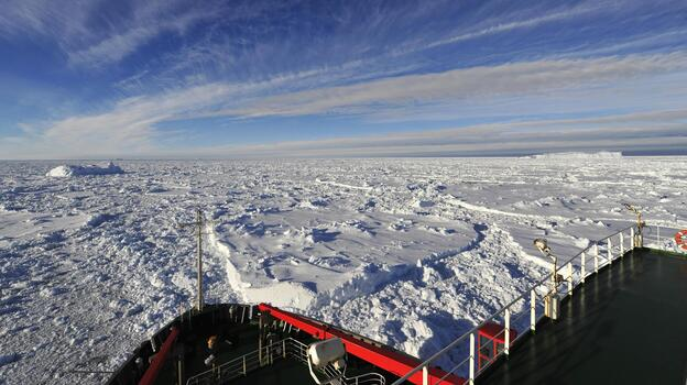 There's ice as far as the eye can see from the deck of the Chinese icebreaker Xue Long, which is stuck in the Antarctic. The captain says he and his crew can wait for conditions to improve. (Xinhua /Landov)