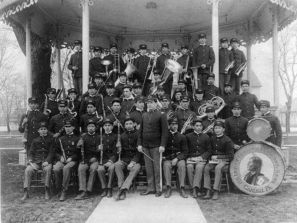 The Carlisle Indian Industrial School became a model for dozens of other boarding schools for Native Americans. The government would eventually make attendance compulsory for Native children. (Library of Congress)