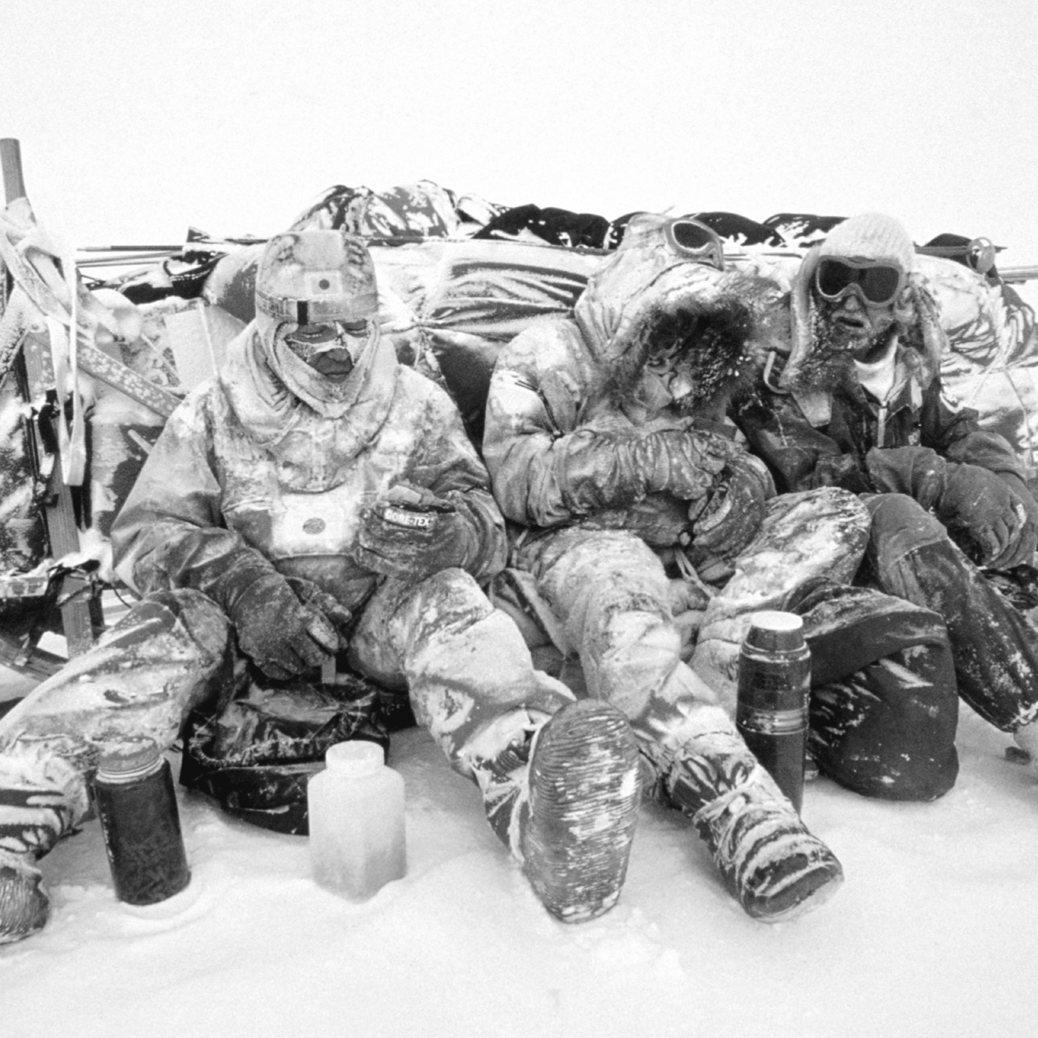 Lunch break is no picnic in Antarctica, during a 56-day storm. Wind-blown snow pelted Will Steger and his 1989-1990 International Trans-Antarctica Expedition, the first to cross the continent -- 3,741 miles -- by dogsled.