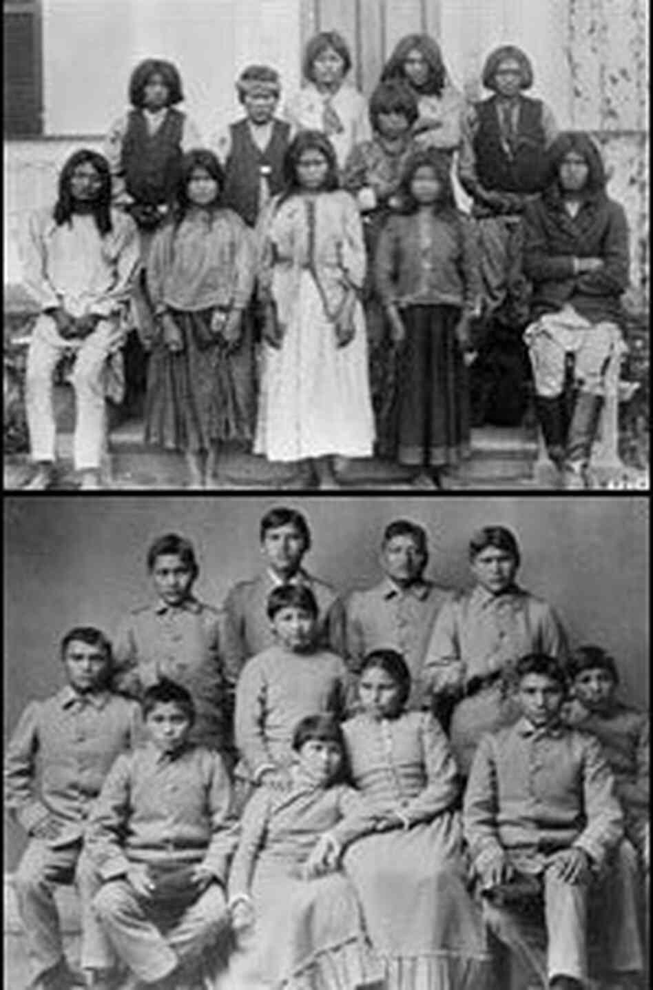 Top: A group of Chiricahua Apache students on their first day at Carlisle Indian School in Carlisle, Pa. Bottom: The same students four months later.