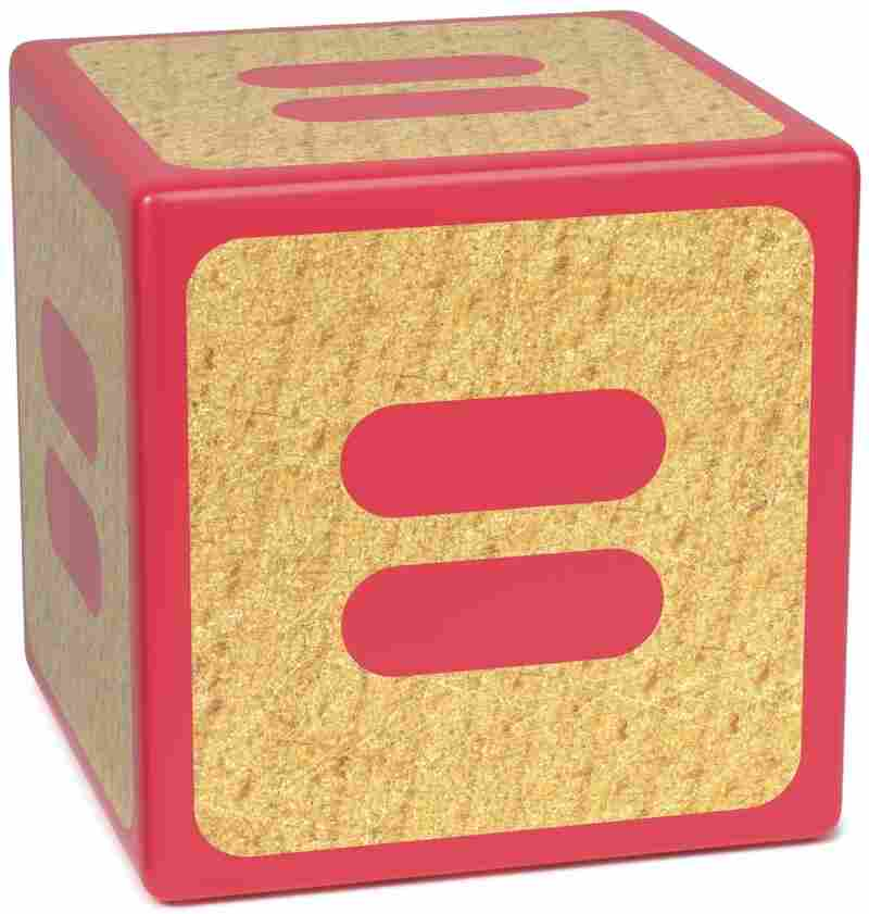 Equal signs on a red wooden children's alphabet block .