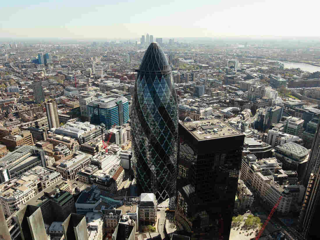 """""""The Gherkin,"""" which is formally known as 30 St. Mary Axe, was completed in 2003."""