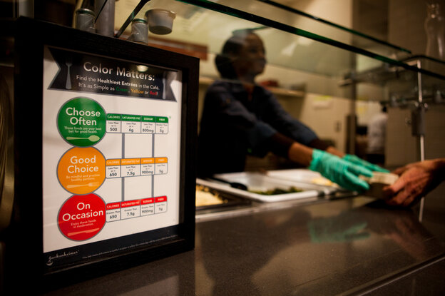 """At NPR's Sound Bites Cafe, all food gets coded with one of three circles: Green is reserved for the most healthful dishes; yellow flags the """"good choices;"""" and red signals the high-calorie foods to grab """"on occasion."""""""