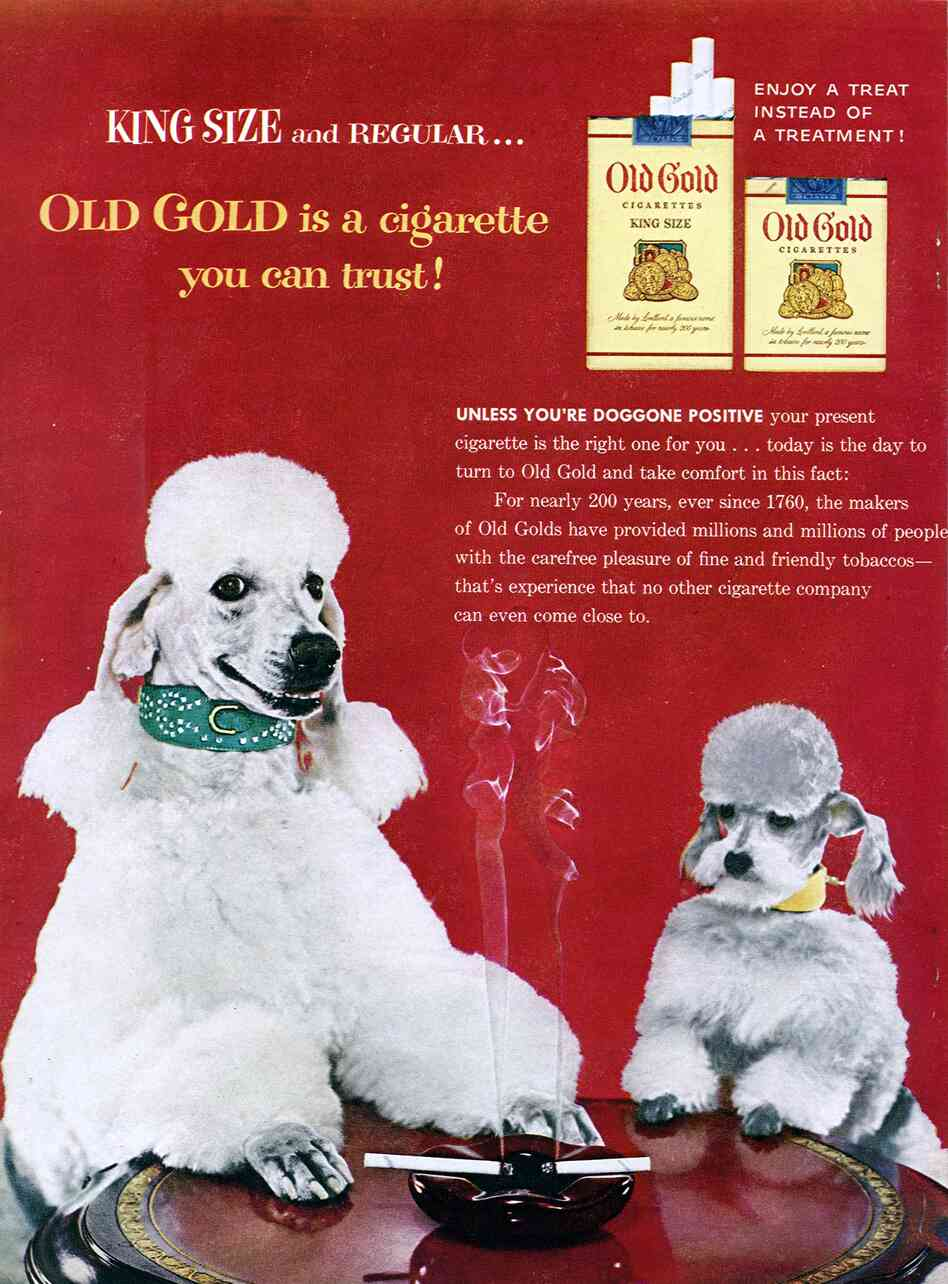 Good for dogs, too? An ad for Old Gold cigarettes in the November 1954 issue of Family Circle magazine.