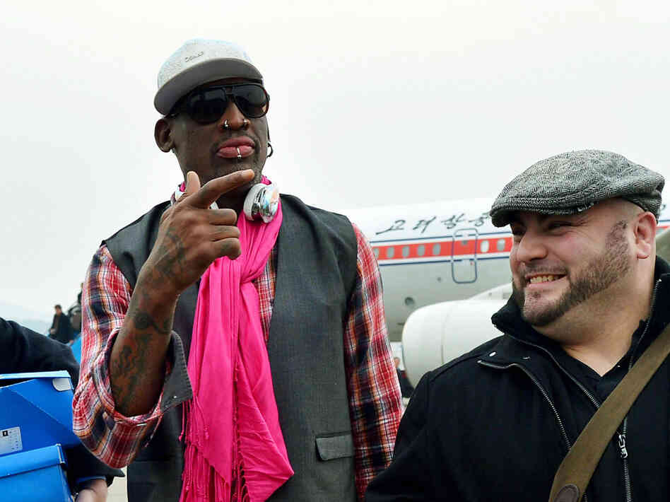Former U.S. basketball star Dennis Rodman in Pyongyang, North Korea, on Monday.