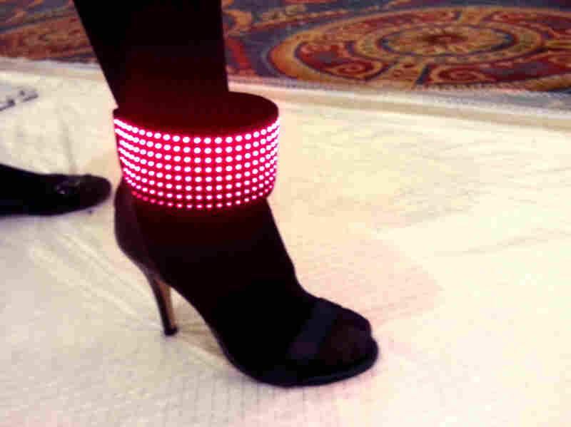 This black high-heeled shoe from Erogear has an LED band that can broadcast low-resolution images or even a Twitter feed.