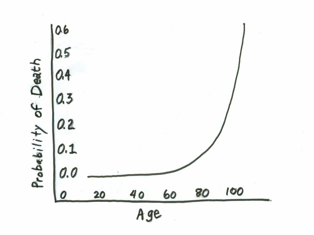 """The mortality curve, also known as the """"Gompertz law of human mortality."""""""