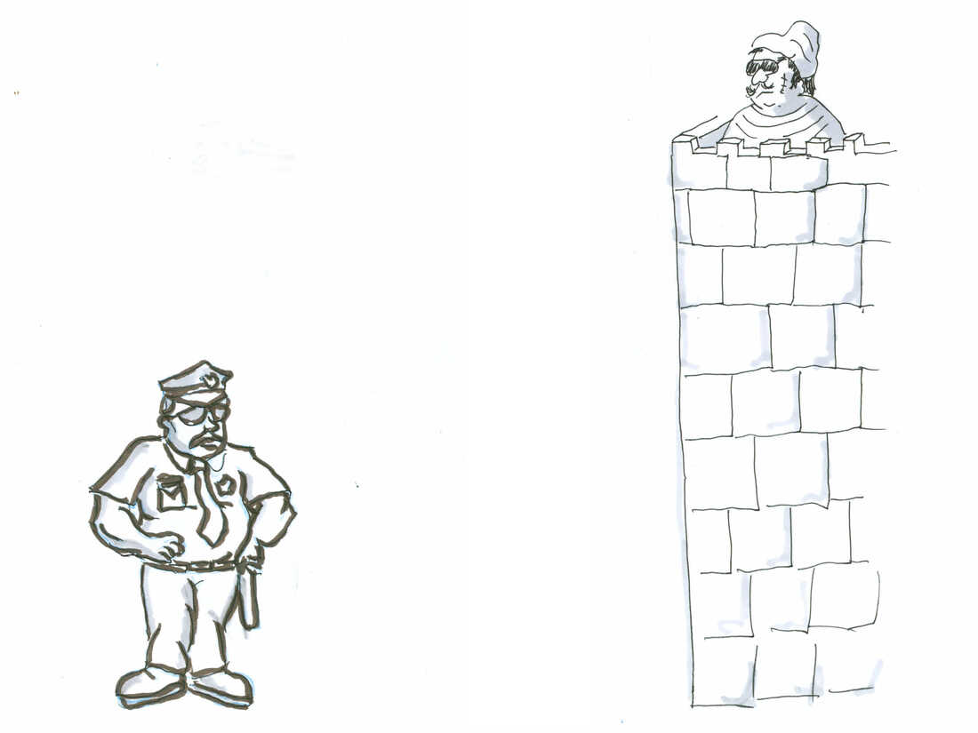 A cop standing outside a crook's fortress.