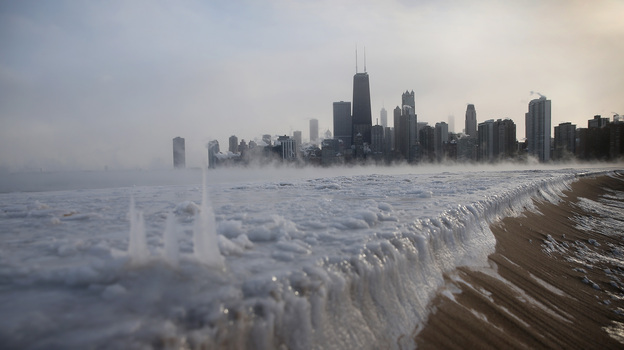 Ice has built up along Lake Michigan in Chicago as temperatures have plunged in recent days. A dip in the polar vortex is to blame. (Getty Images)