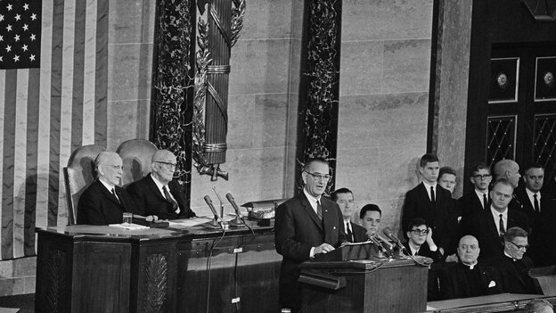 President Lyndon B. Johnson delivers his State of the Union address to a joint session of Congress on Jan. 8, 1964.