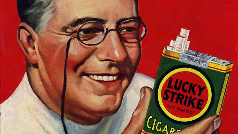 Tobacco companies incorporated doctors in their ads, such as this 1930 Lucky Strike campaign, to convince the public that smoking wasn't harmful.