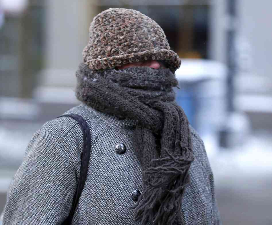 This woman in Chicago was well protected from the cold on Monday.