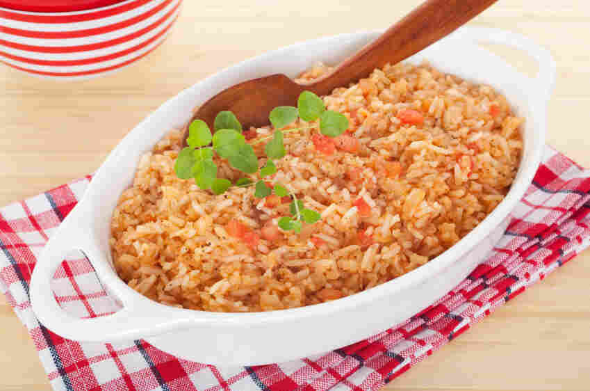 Keep the rice brown and the skin off the chicken for a Spanish rice dinner that could qualify for the top-ranked DASH diet. Here's the DASH-approved recipe.