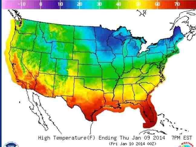 Thursday's temperatures.