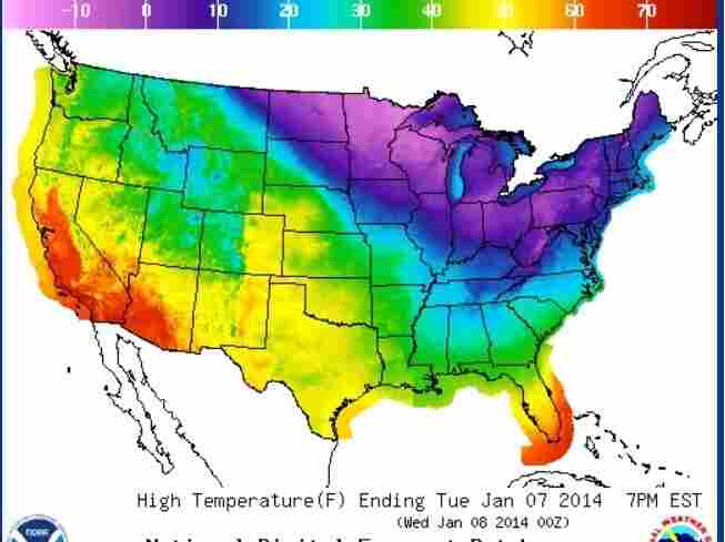 Tuesday's temperatures.