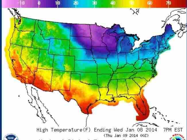 Wednesday's temperatures.