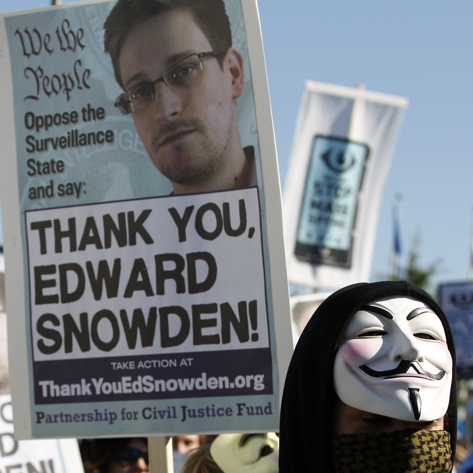 A demonstrators shown during a march in October outside Capitol Hill demanding that Congress investigate the NSA.