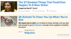 Buzzfeed is among a growing number of outlets using native advertising online. The ads mimic the site's look and style, and some link to pages almost  indiscernible from a typical Buzzfeed page.