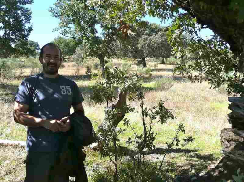 Diego Benito, a forestry engineer who lives and works at the Campanarios de Azaba Biological Reserve. Benito, his wife and new baby are the only full-time residents of the nature reserve. He says he considers his family pioneers, moving to the countryside while most longtime residents are abandoning it.