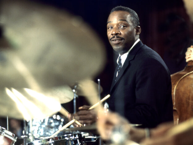 Kenny Clarke performs at the Montreux Jazz Festival in 1968. He spent the second half of his career in Europe.