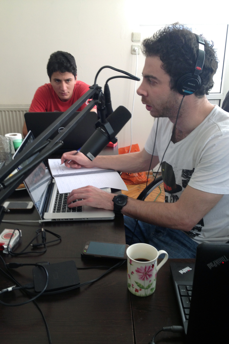 Syrian journalist Rami Jarrah (right) has set up Radio Ana across the border in southern Turkey and broadcasts into Syria. He left Raqqa after ISIS began targeting journalists and activists. (NPR)