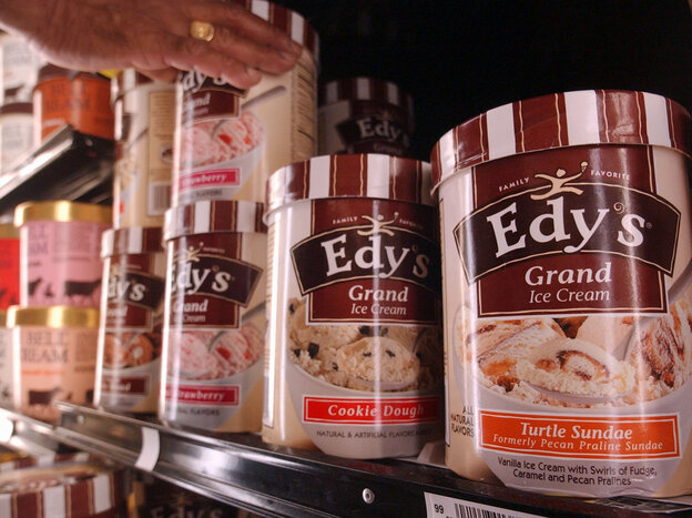 To make a more healthful version of Edy's Grand Ice Cream, Nestle developed a technology that could cut half the fat and two-thirds of the calories from the frozen treat.