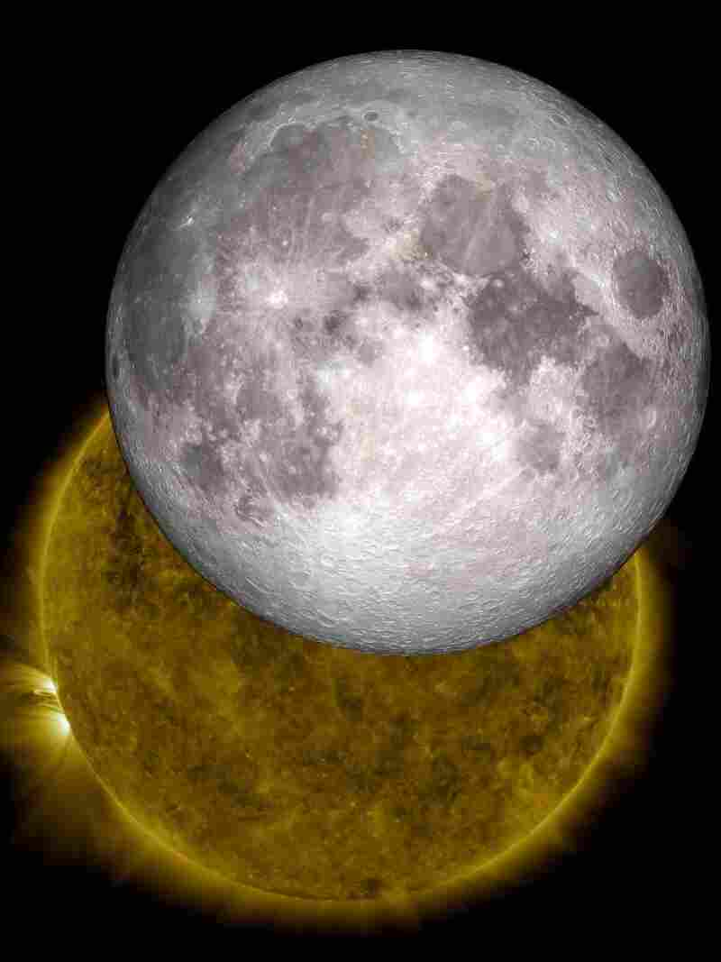 "Live, from the moon, it's the space weather report: Data from a lunar orbiter is being used to create a music stream that reflects conditions in space. Here, an image created by NASA ""visualizers"" who used data from 2010 to show the moon traveling across the sun, as happens two or three times a year."