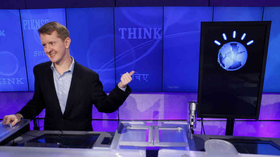 Jeopardy! contestant Ken Jennings, who won a record 74 consecutive games, concedes to supercomputer opponent Watson in February 2011.