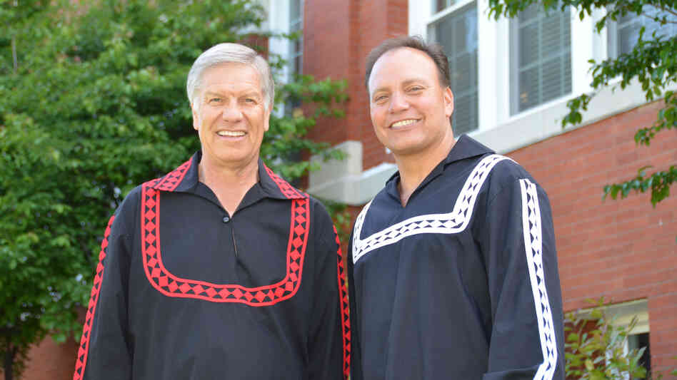 Chief Gregory Pyle (left) and Assistant Chief Gary Batton stand in front of the Choctaw Nation of Oklahoma's Capitol building in Tuskahoma, Okla.