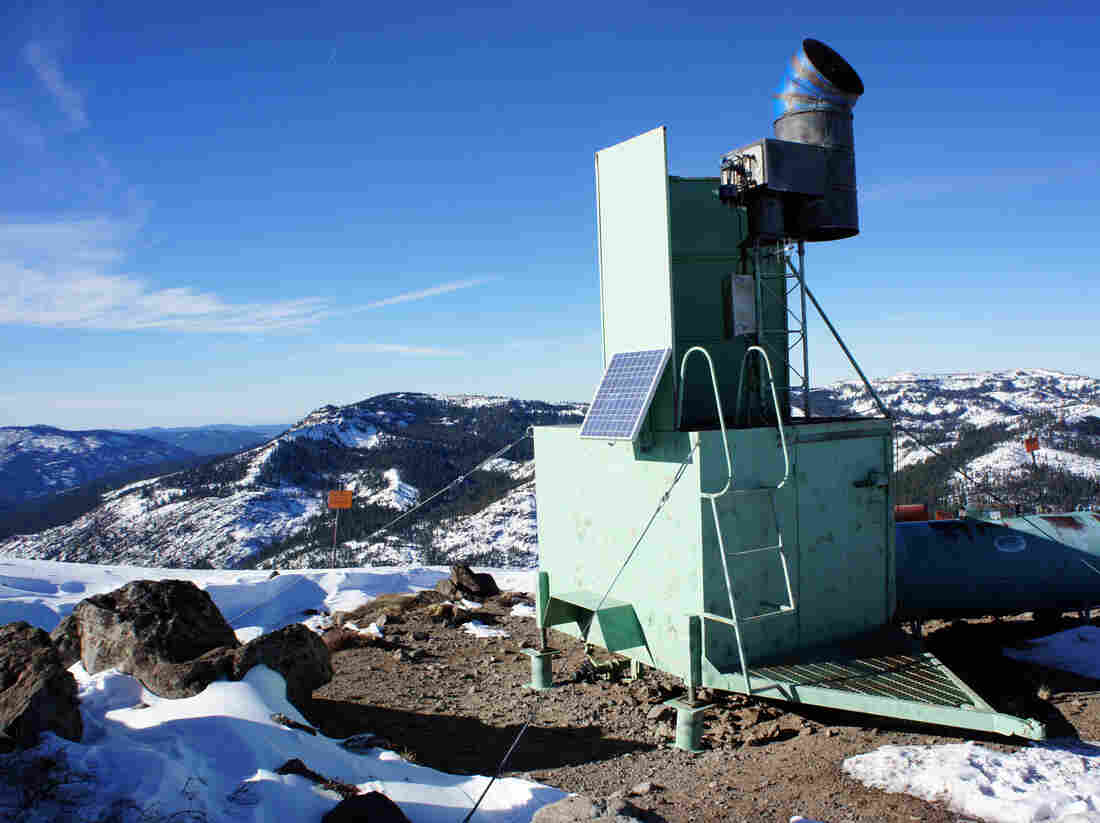 A ground-based cloud-seeding tower at Alpine Meadows ski area near California's Lake Tahoe. It spits out silver iodide particles that are the right size and shape to help precipitation form.