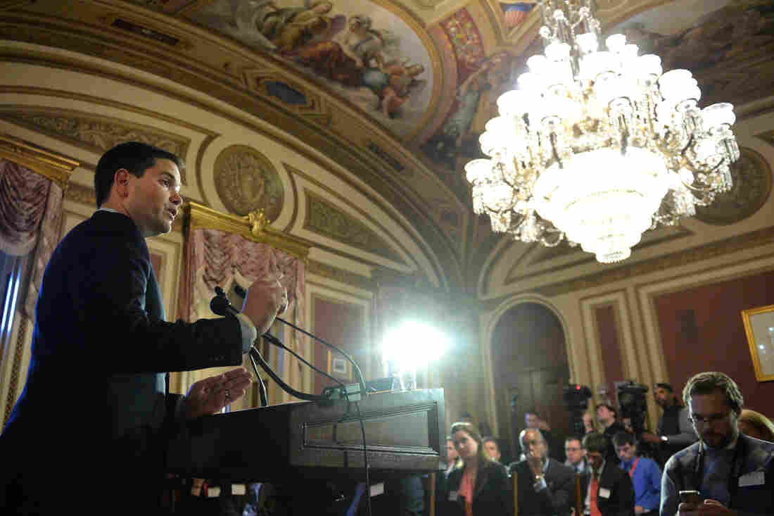 """Republican Sen. Marco Rubio of Florida delivers a speech on reforming antipoverty programs on the 50th Anniversary of President Johnson's declaration of the """"War on Poverty."""""""