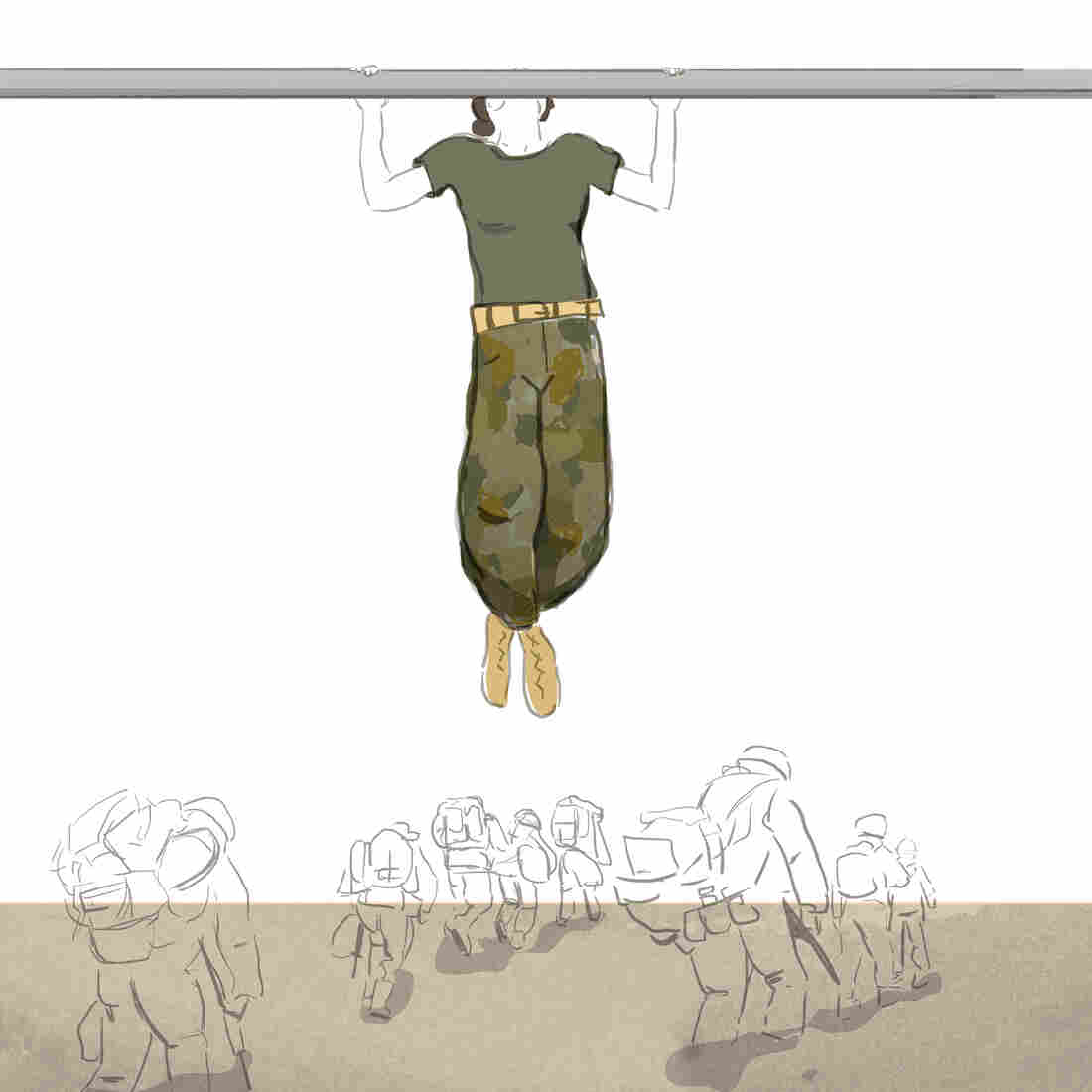 Maria Fabrizio created this image on the morning of Dec. 27, after hearing Tom Bowman's Morning Edition  story about how most female Marine Corps recruits aren't able to meet a new pullup standard.