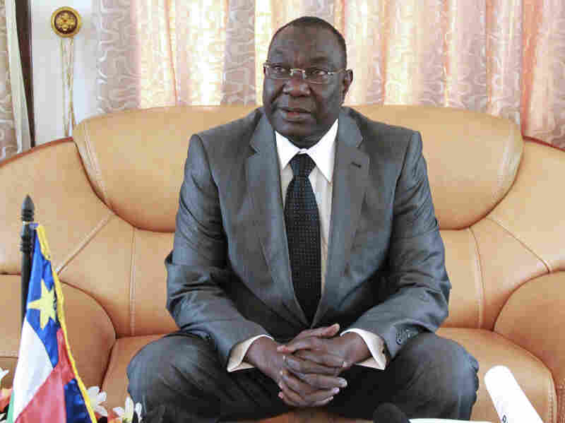 Central African Republic's interim President Michel Djotodia sits during a conference in Bangui in this Dec. 8 file photo. Djotodia resigned Friday after a two-day summit in neighboring Chad.