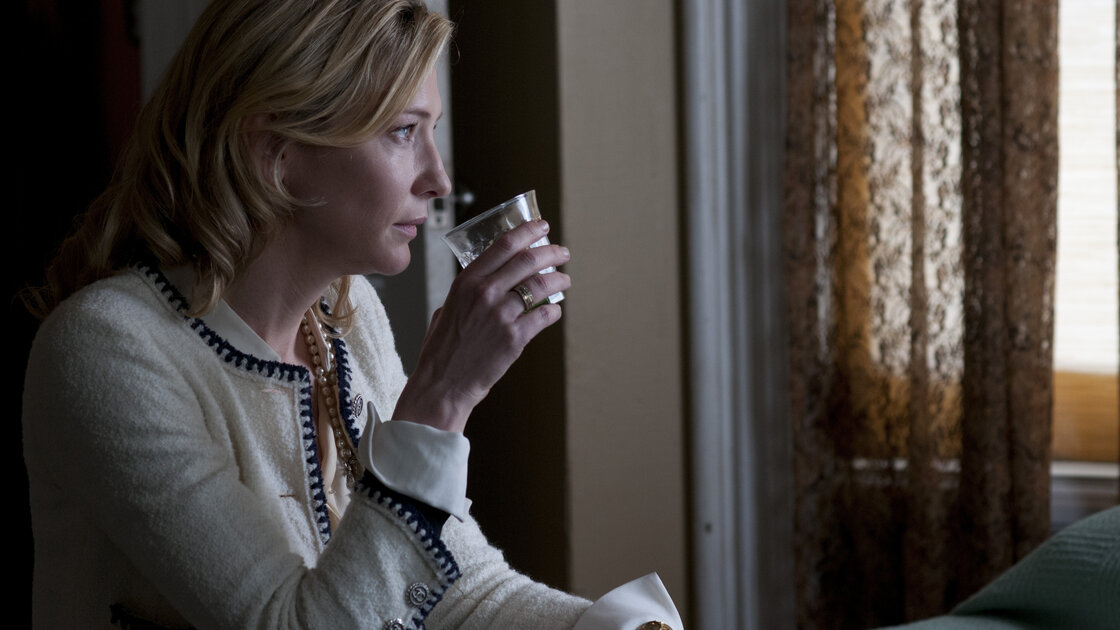 Cate Blanchett's title character looks for a little liquid courage in Blue Jasmine. The actress is nominated for a Golden Globe Award for her performance.