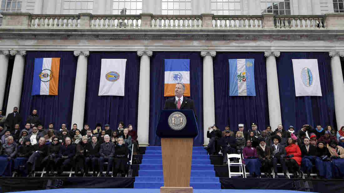 New York City Mayor Bill de Blasio speaks after being sworn in during the public inauguration ceremony at City Hall in New York on Jan. 1.